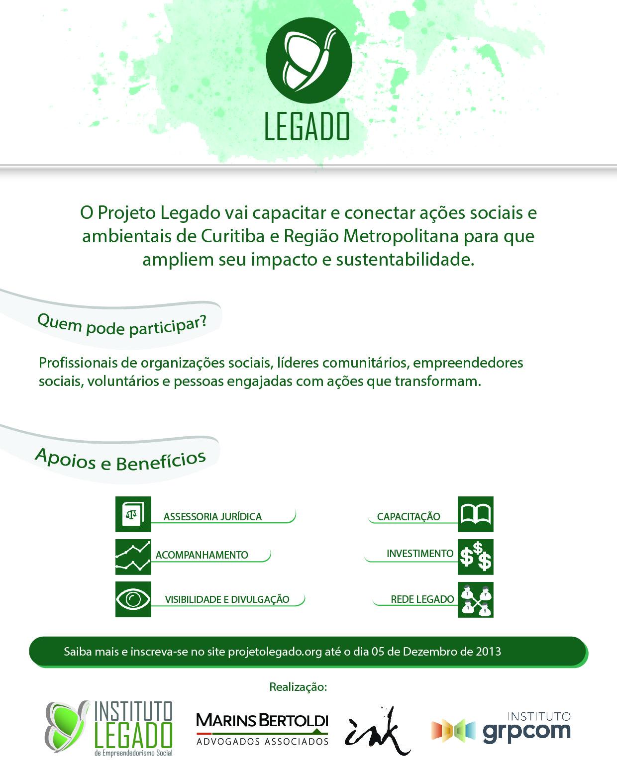 Projeto Legado: inscrições até 05/12/2013